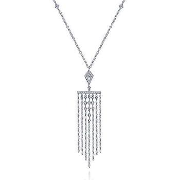 14K White Gold Fringe Diamond Pendant Necklace