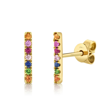 14K Yellow Gold Multi Colored Stone Bar Earrings