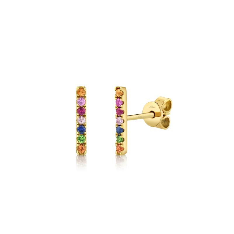 Shy 14K Yellow Gold Multi Colored Stone Bar Earrings