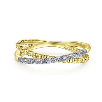 Yellow Gold and Diamond Beaded Criss Cross Ring