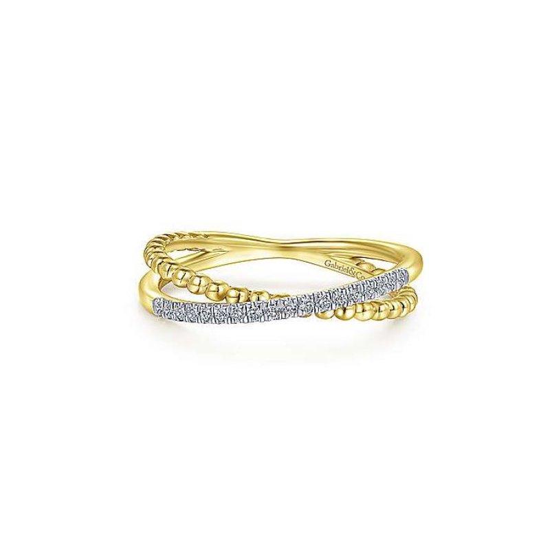 Gabriel Yellow Gold and Diamond Beaded Criss Cross Ring