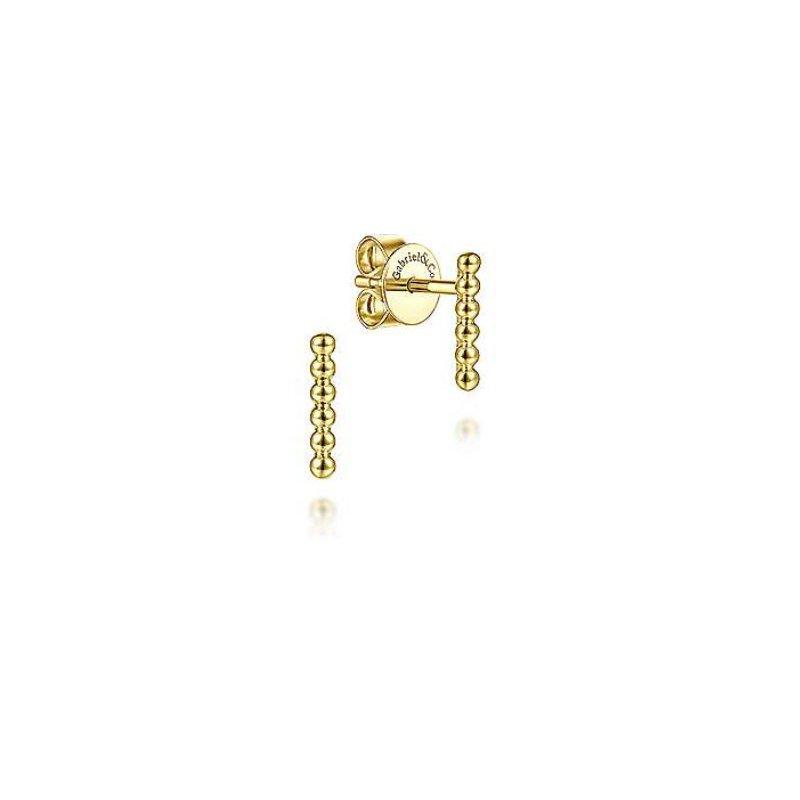 Gabriel 14K Y/G Beaded Bar Stud Earrings