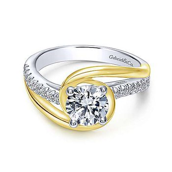 14K White and Yellow Gold Round Diamond Engagement Ring with Bypass Design