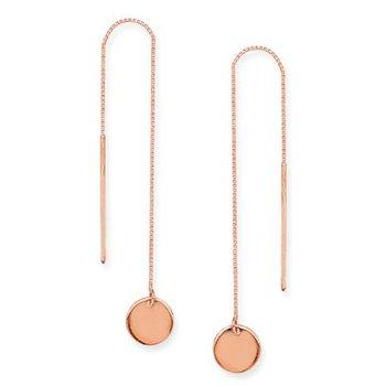 14K Rose Gold Round Disc Threader Earring