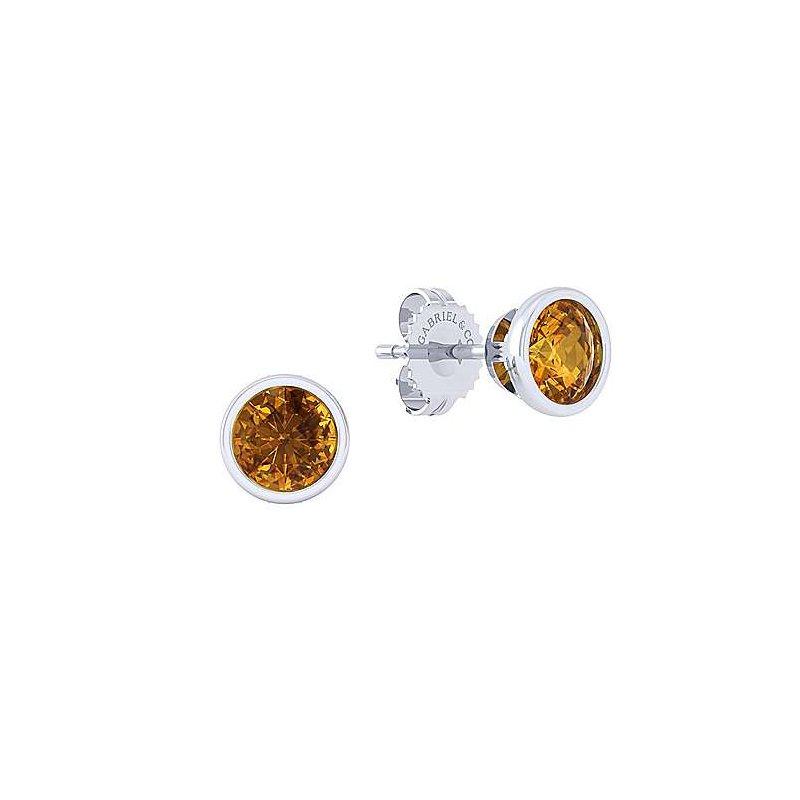 Gabriel Sterling Silver Citrine Stud Earrings