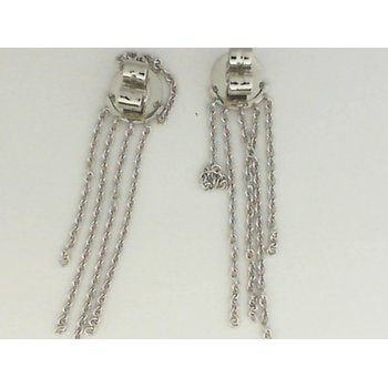 18K White Gold Chain Fringe Earrings