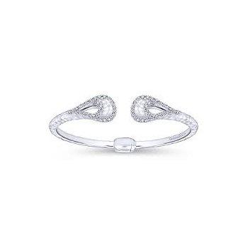 925 & White Sapphire Hinged Cuff Bracelet