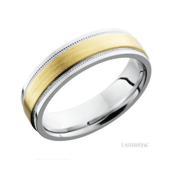 14K Yellow Gold & Cobalt Men's Wedding Band