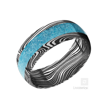 Damascus Steel & Turquoise Men's Wedding Band