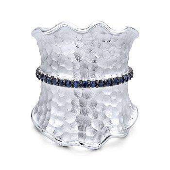 Sterling Silver Blue Sapphire Fashion Ring LR50572SVJSB