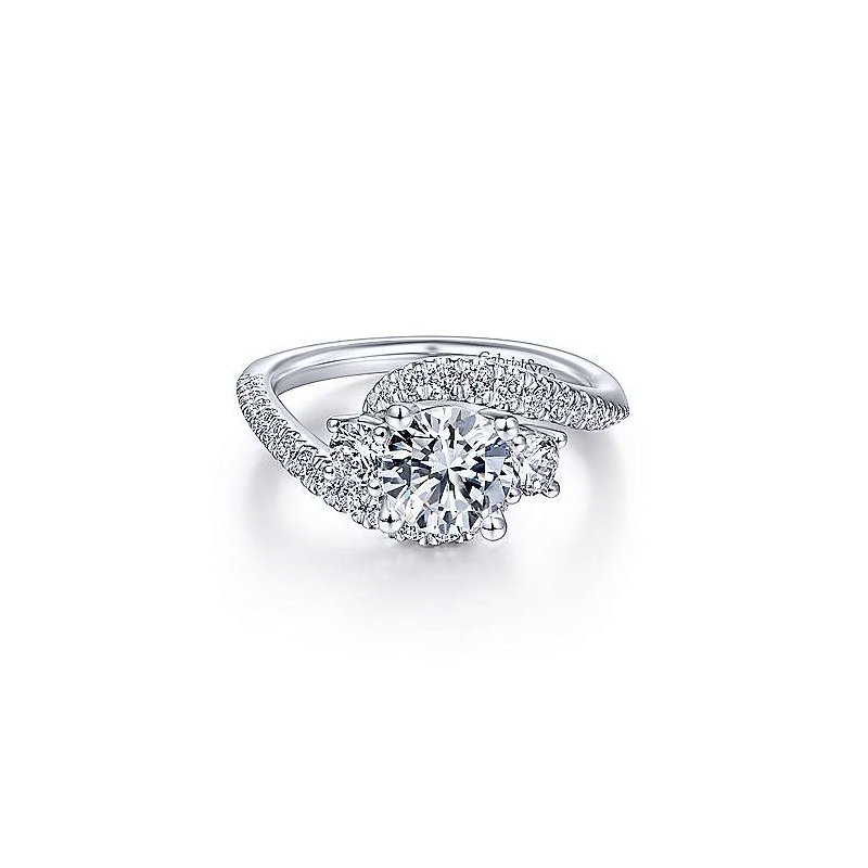 Gabriel 14K White Gold and Diamond Frannie Engagement Ring