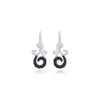 Sterling Silver and Black Spinel swirl style earring