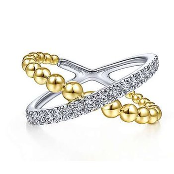 White and Yellow Gold Beaded Ring Criss Cross with Pave Diamonds.