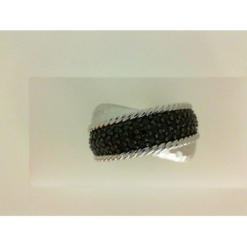 Sterling Silver and Black Spinel Criss cross fashion ring