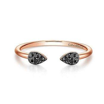 14K Rose Gold and Black Diamond Teardrop Ring