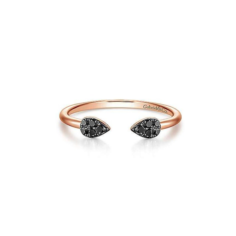 Gabriel 14K Rose Gold and Black Diamond Teardrop Ring