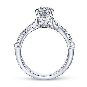 14K White Gold and Diamond Amber Engagement Ring