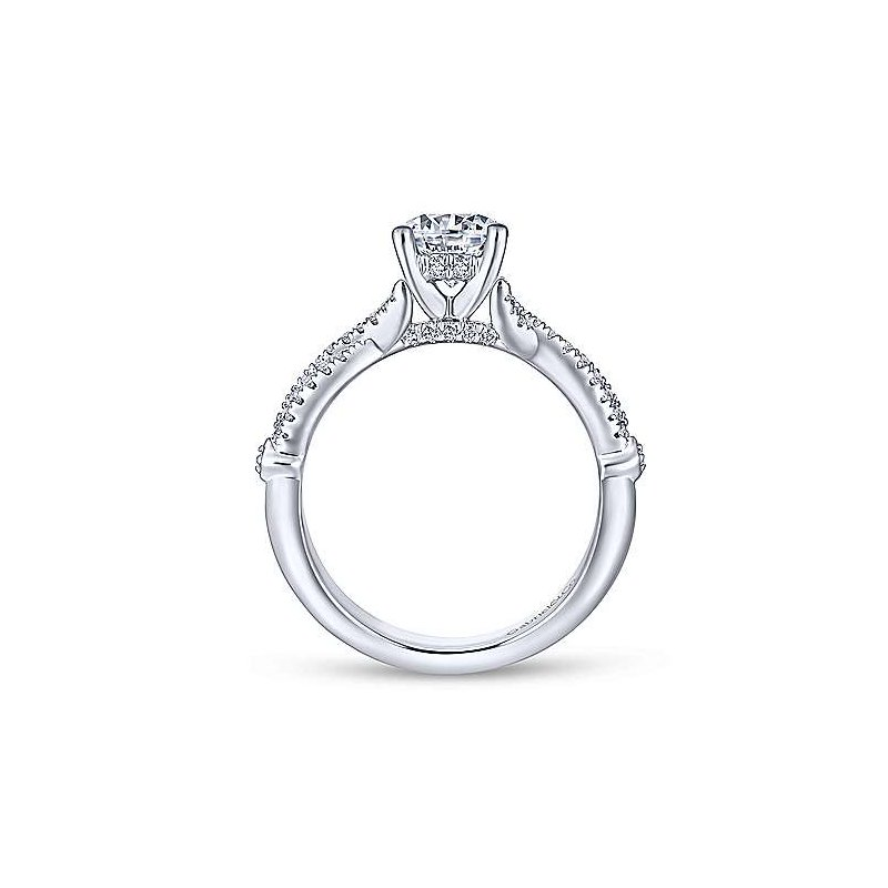 Gabriel 14K White Gold and Diamond Amber Engagement Ring