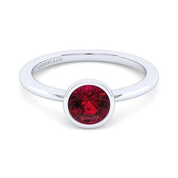 Sterling Silver Bezel Set Garnet Birthstone Ring