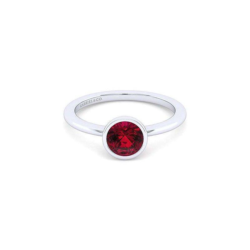 Gabriel Sterling Silver Bezel Set Garnet Birthstone Ring