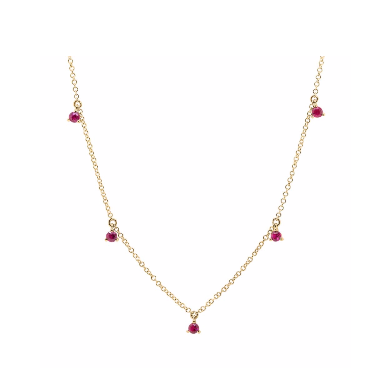 Shy 14k Yellow Gold Ruby Necklace