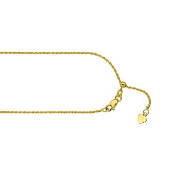 "22"" Adjustable Diamond Cut Rope Chain"