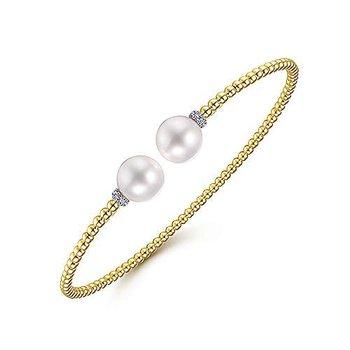 14K Yellow Gold Bujukan Pearl & Diamond Bead Split Bracelet