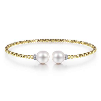 14K Yellow Gold Bujukan Pearl & Diamond Bead Split Bracelet