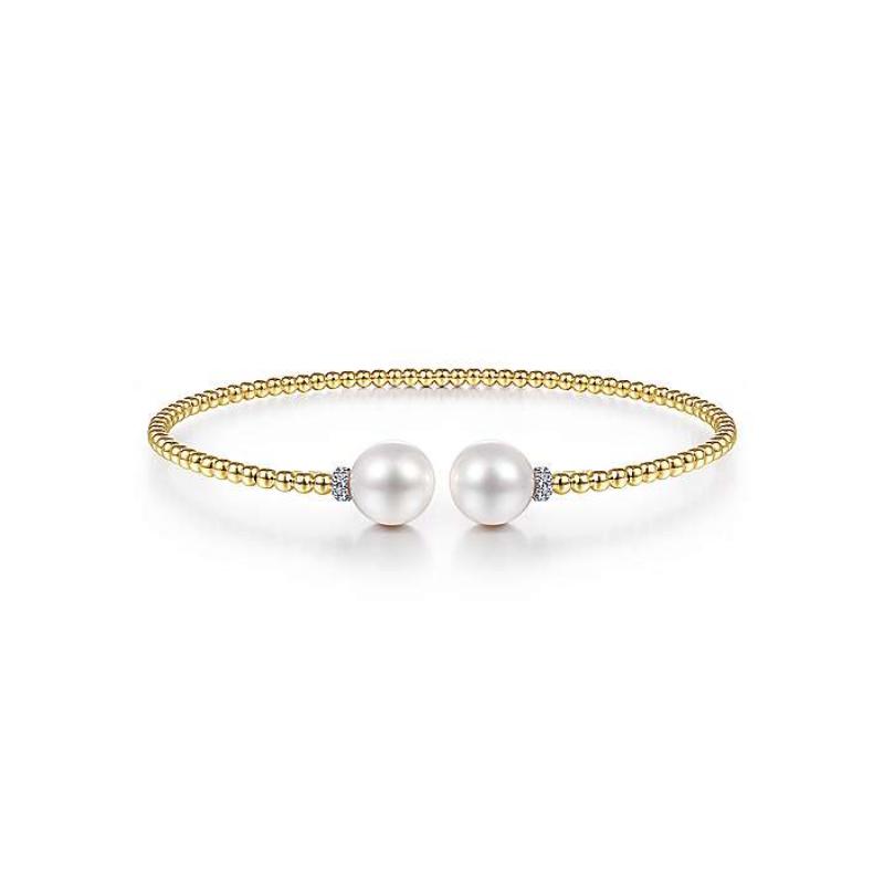 Gabriel 14K Yellow Gold Bujukan Pearl & Diamond Bead Split Bracelet