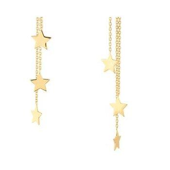 14K Yellow Gold Triple Strand Star Dangle Earrings