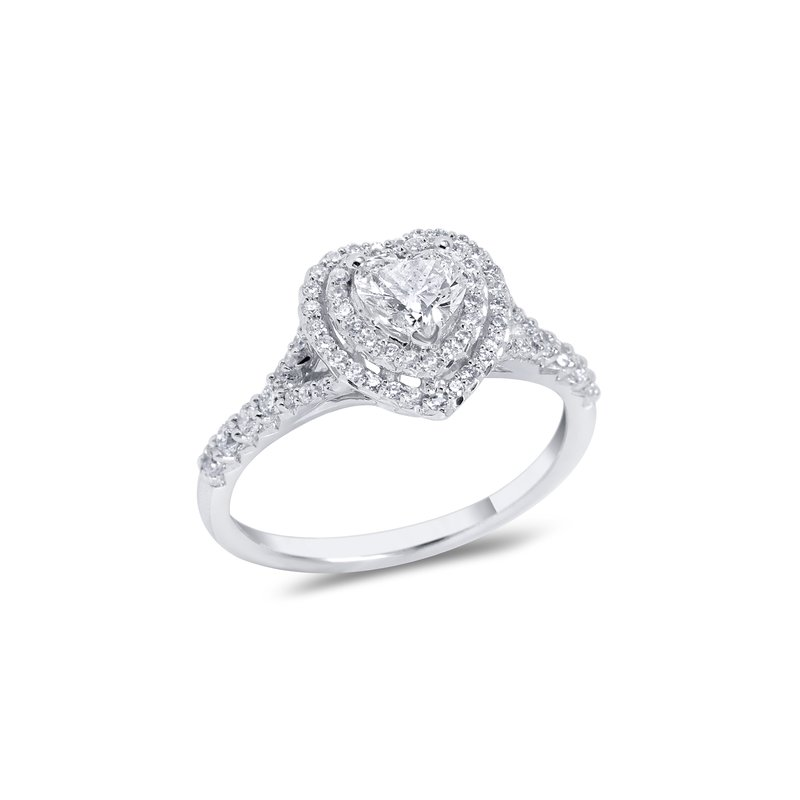 Collage Collection Heart Double Halo Engagement r=Ring