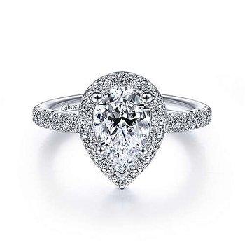 14K White Gold And Diamond Lyla Engagement Ring