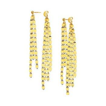 14K Yellow Gold Valentino Fringe Front & Back Earrings