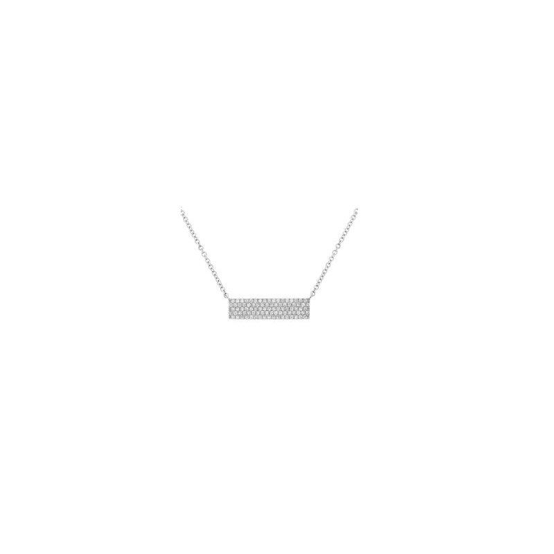 Shy 14K White Gold Pave Diamond Bar Necklace