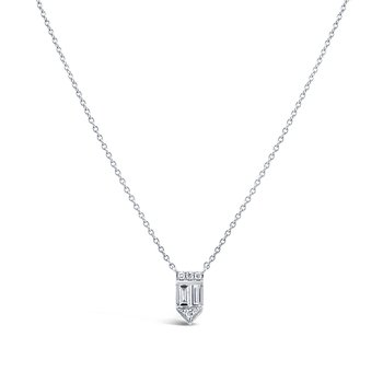 14K White Gold Baguette Diamond Necklace