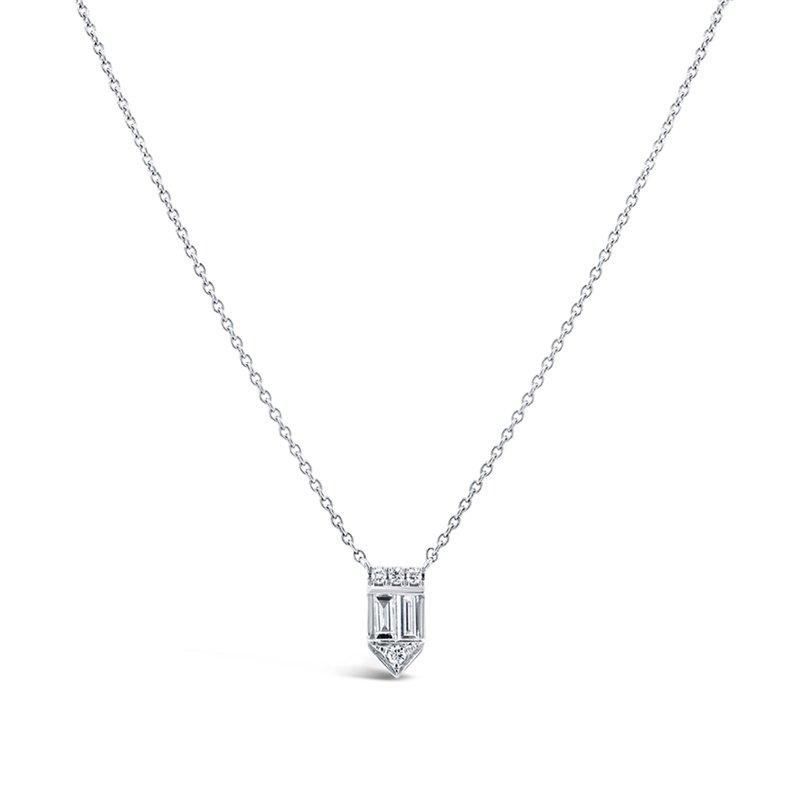 Shy 14K White Gold Baguette Diamond Necklace