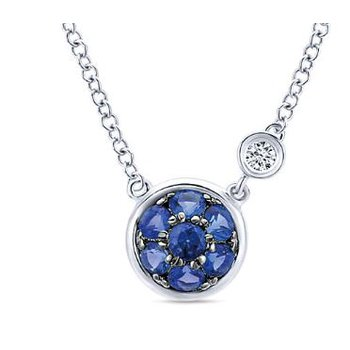 Sterling Silver and Blue Sapphire Cluster Necklace