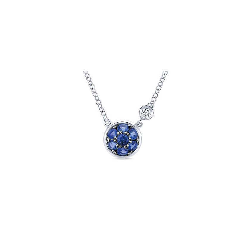 Gabriel Sterling Silver and Blue Sapphire Cluster Necklace