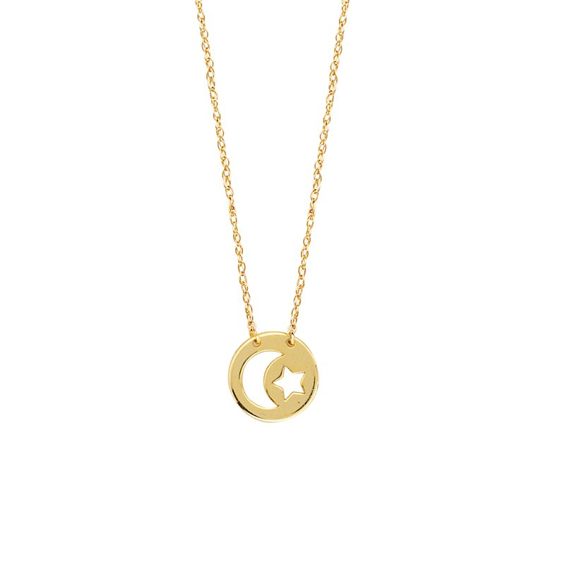 """18"""" 14K Yellow Gold Mini Moon & Star Disc Necklace"""