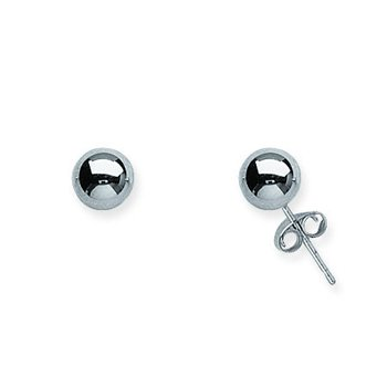 14K White Gold Ball Post Earrings