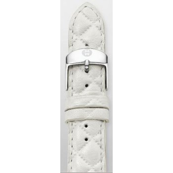 18mm Whisper White Quilted Leather Strap