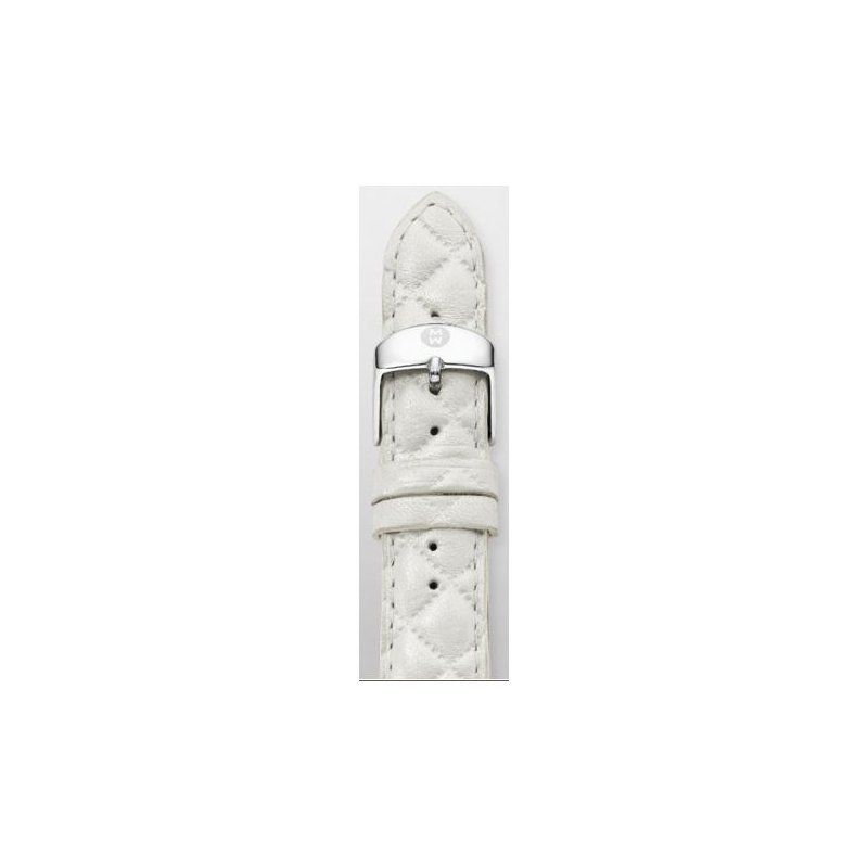 MICHELE 18mm Whisper White Quilted Leather Strap
