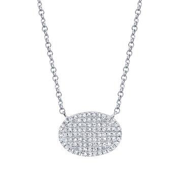 14K White Gold Diamond Pave Oval Necklace
