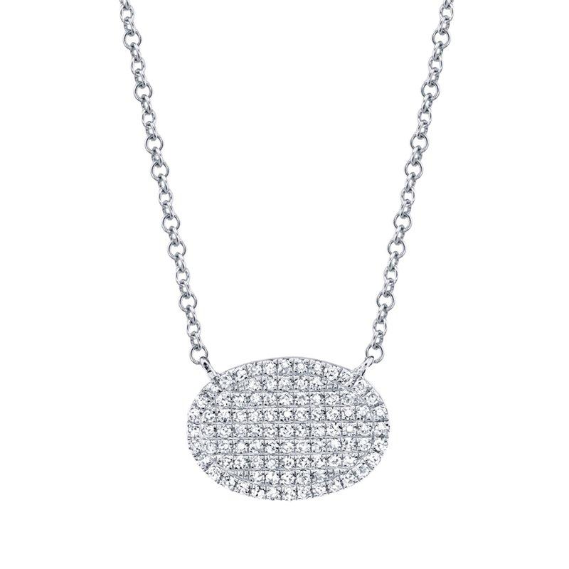 Shy 14K White Gold Diamond Pave Oval Necklace