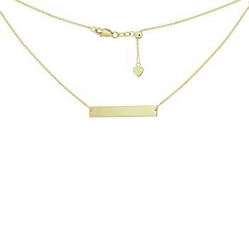 "16"" Engravable Bar Adjustable Choker Necklace"