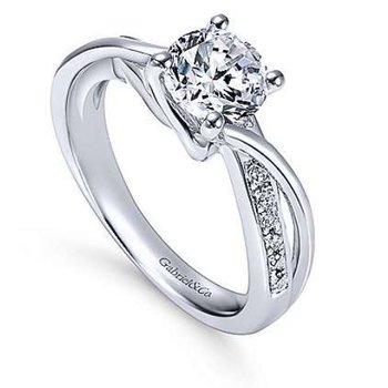 Aleesa 14K White Gold Round Bypass Diamond Engagement Ring