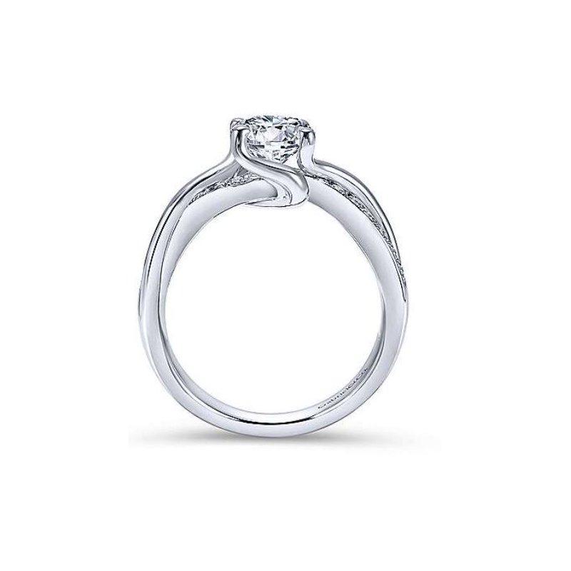 Gabriel Aleesa 14K White Gold Round Bypass Diamond Engagement Ring