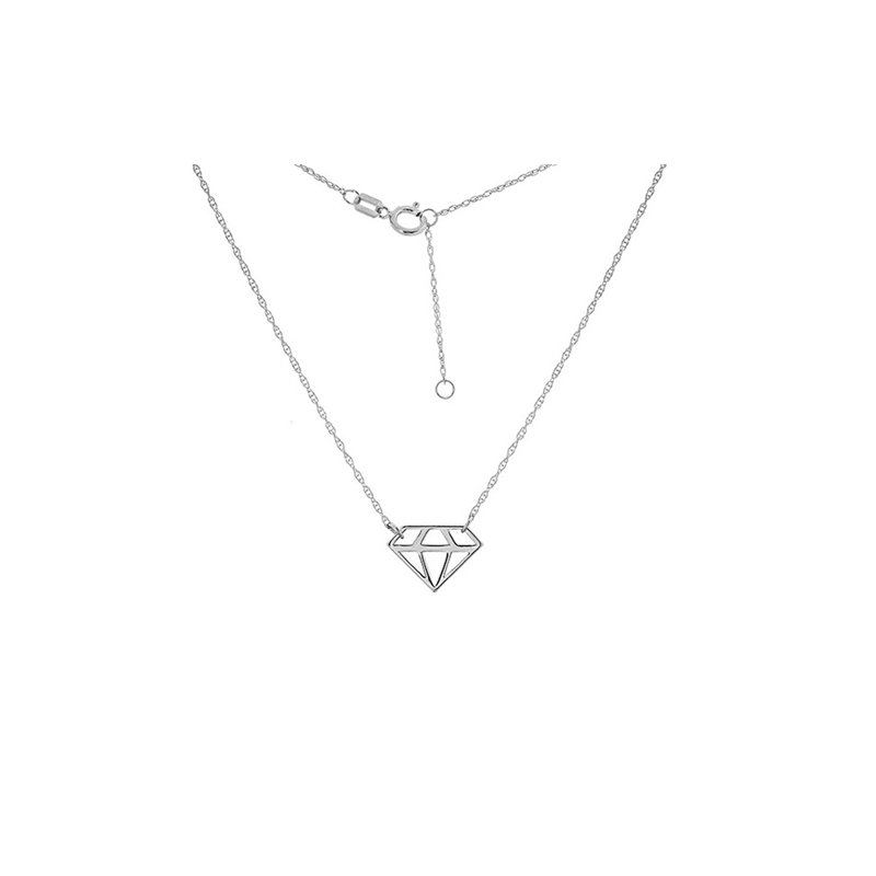 "18"" 14K White Gold Mini Cut Out Adjustable Diamond Necklace"