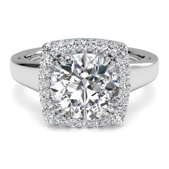 14K White Gold Diamond Engagement Ring 1R3780