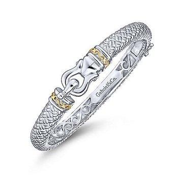 18K Yellow Gold & Sterling Silver Bangle Bracelet